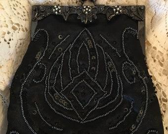 Black Beaded Bag-Black Sequin Clutch Bag-Sequin Clutch-Clutch Bag-Vintage Beaded Bag-Vintage Beaded Clutch-Sequin Bag-Vintage Purse-Purse