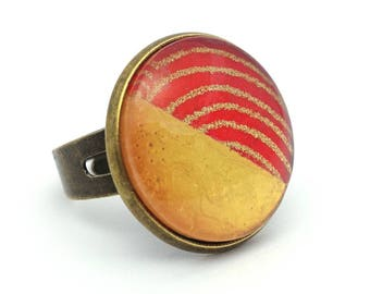Ring two-tone red and gold - Japanese inspired - ring adjustable