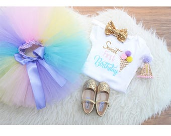 Ice Cream First Birthday outfit, sweet first birthday tutu, rainbow tutu, full and fluffy tutu, party hat, headband, bodysuit.