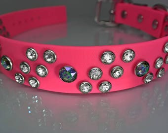 Big Dog Bling, Hot Pink Swarovski Crystal Dog Collar for Large Dogs, Optional Personalization, Very Special Dog Collar!