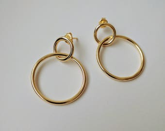 Disc Linear Drop Earrings, Double hoop earrings, Minimalist hoops, Outline Circle Ear, Frontal Hoop Earrings, Alternate Hoop Earrings