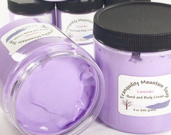 LAVENDER LOTION Hand Cream Body Lotion Hand Lotion Skin Care Shea Butter Moisturizer Bath and Body Gift For Her Floral 8 oz 4 oz
