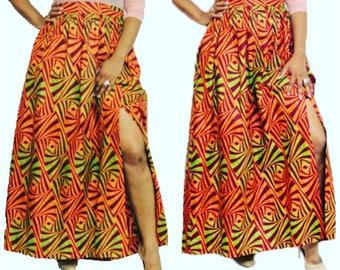 African clothing, Maxi skirt ,gathered waist Ankara