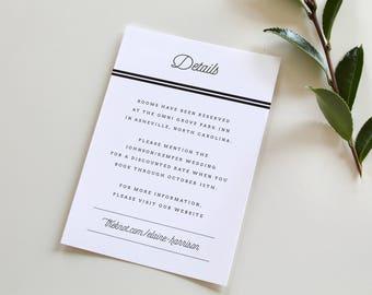 Modern Wedding information Card   Rustic Wedding, Insert Card, Info Card, Accommodations Card, Plaid Wedding, Flannel Wedding, Buffalo Check
