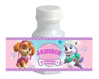 30 Girl Paw Patrol mini Bubble labels skye and everest Birthday label