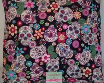 """Handmade sugar candy skull,Mexican day of the dead, gothic,tattoo cushion cover 16"""" x 16"""""""
