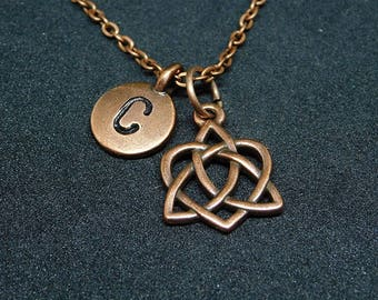 Copper Trinity Celtic Knot Heart with Initial necklace, personalized necklace