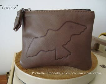 Coin purse, clutch, leather, mocha