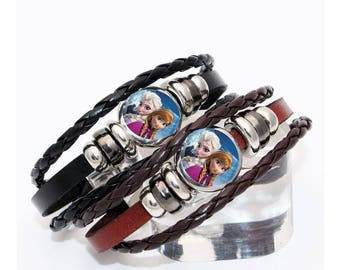 Bracelet black or brown leather with Snap frozen