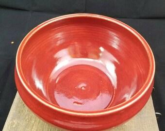 Large Red Ceramic Bowl, Red Pottery Bowl, Pottery Bowl, Pasta Bowl, Fruit Bowl, Decorative Bowl, Ceramic Dish