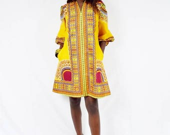 Purple A-Line Dashiki Tunic, Short Angelina Dress, Ladies' Short Ankara Dress, Short Dashiki Dress, Mandarin Collar Dress – Made to Order