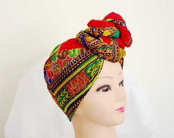 Red Dashiki Print Ankara Head wrap, DIY head tie, Stylish African head scarf, Fabric hair accessory – Made to Order