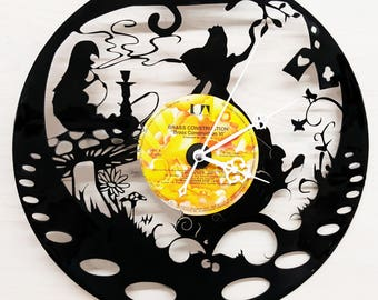 Alice in Wonderland Vinyl Record Clock, Alice in Wonderland Clock, Vinyl Record Clocks, The White Rabbit Custom Clock, Personalized
