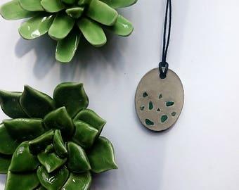 Concrete necklace with green gemstone Aventurine