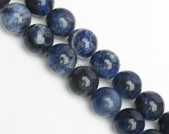 Natural Blue Sodalite Gemstone 4 6 8 10 12mm DIY Jewelry Beads (JDR6)