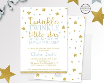 Twinkle Twinkle Little Star Baby Shower Invitation | Twinkle Twinkle Little Star Invitation | Gold Glitter | Star Baby Shower | Printable