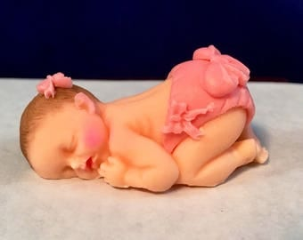 """Fondant Baby 2 1/2"""" with Bows and diaper -made to order - you choose skintone, hair and accent colors."""