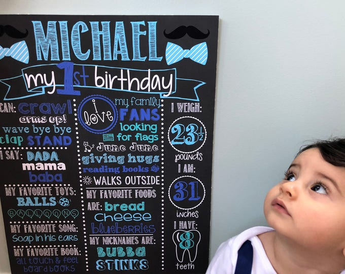 Mustache Birthday Chalkboard /Little Man Birthday Chalkboard/Mustache First Birthday Chalkboard/Bowtie Birthday Chalkboard/Mustaches/Bowties