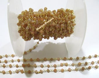 Natural Peach Moonstone Rondelle Faceted Beaded Chain , Moonstone Beads Rosary Chain 3-4mm , Wire Wrapped Beaded Chain , Sold per One Foot