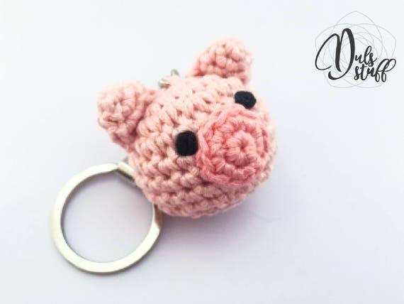 Amigurumi Pig : Pig crochet keychain crochet pig pig amigurumi crochet bag