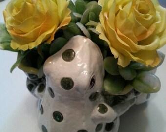 Vintage Frog container/ Floral arrangement