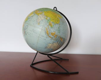 world map globe Earth Girard and Baker mid century 1960's 1970 '60s 70's vintage french globe