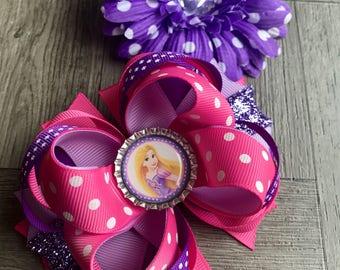 Rapunzel bow, rapunzel hair bow, tangled rapunzel bow, princess rapunzel bow, princess hair bow, princess bow, girls hair bow, hair bow