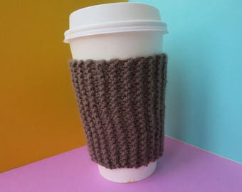 Brown Coffee Cup Sleeve | Hand Knit Cup Cosy | Fits Starbucks Cup | Gifts For Her | Stocking Fillers | Tea Cosy | Knit Coffee Cosy