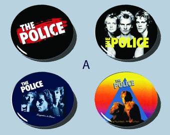 "The Police 1-1/2"" buttons!! 80s Classic Rock/New Wave!! sets of 4!!"