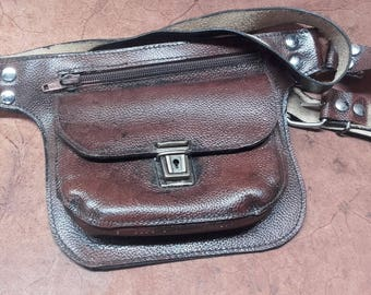 BASIC VINTAGE leather Baby carrier, adjustable in life with two door pockets all made in Italy