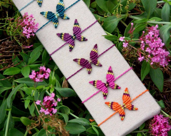 Macrame BUTTERFLY, for bracelet, 9 colours, boho macrame, bohemian butterfly, Friendship bracelet, water resistent, free shipping