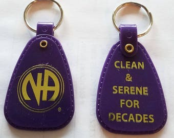 NA Purple Decades - 20+ Year Clean Time Key Tag - Narcotics Anonymous