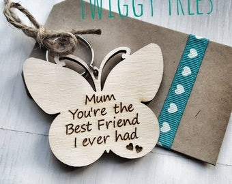 Wooden Butterfly Best friend  Mothers Day Mum Birthday Christmas  Engraved Keyring Gift mum mummy