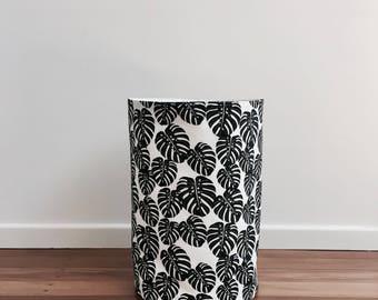 NEW - Monstera print fabric storage basket, nursery storage, fabric basket, storage basket, storage bin, bathroom storage, leaf print.