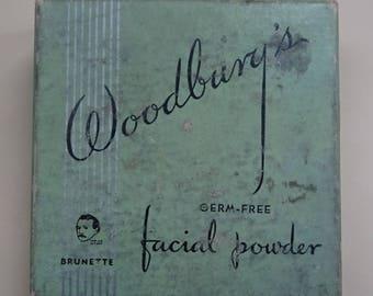 Vintage Rare 1930s/30s Woodburys FACE POWDER BOX & Leaflet Boudoir Display