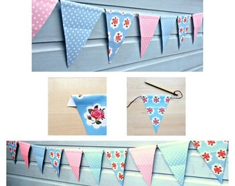 DIY Oilcloth Bunting craft kit for adults - make this pretty bunting