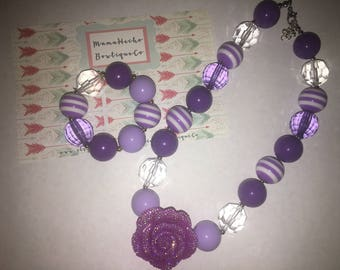 Purple & Lavendar Chunky Bubblegum Bead Necklace/Bracelet SET With Bling Rose. (Toddler/Small Child)