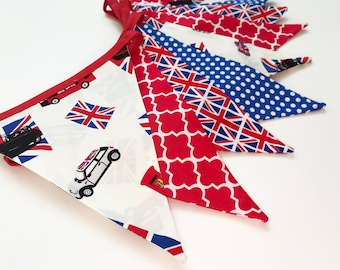 British Bunting, Mini Cooper Decor, Red White Blue Banner, Car Banner, London Home Decor, Union Jack Bunting, Fabric Banner, Nessa Foye