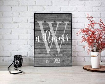 Family Name Print, Family Established Name Sign, Personalized Family Print, Gallery Wall Print, Personalized Wedding Gift Print, Wood Art