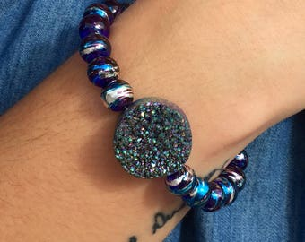 Purple & Blue Beaded Druzy