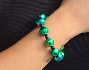 Blue Green & Black Swirl Bracelet