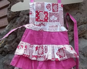 Cute as a Cupcake Sweetheart Little Girl's Prairie Apron Pinafore Style Toddler Size 3 Little Baker Play Kitchen Handmade Gift Ruffle Layers