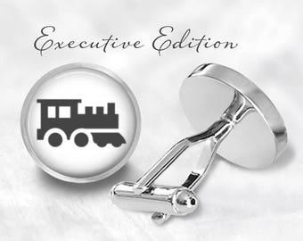 Train Cufflinks - Locomotive Cuff Links - Railroad Cufflink (Pair) Lifetime Guarantee (S1120)