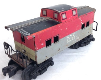 MARX Monon train caboose car NYC 20102, 7 inch 4 wheel, hook coupler #A14