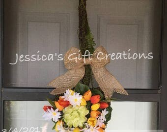 Ready to Ship Moss Shovel Grapevine Wreath/Tulips Wreath/Daisies Wreath/Front Door Wreath/Spring Decor/Summer Decor/Garden Wreath/Year Round