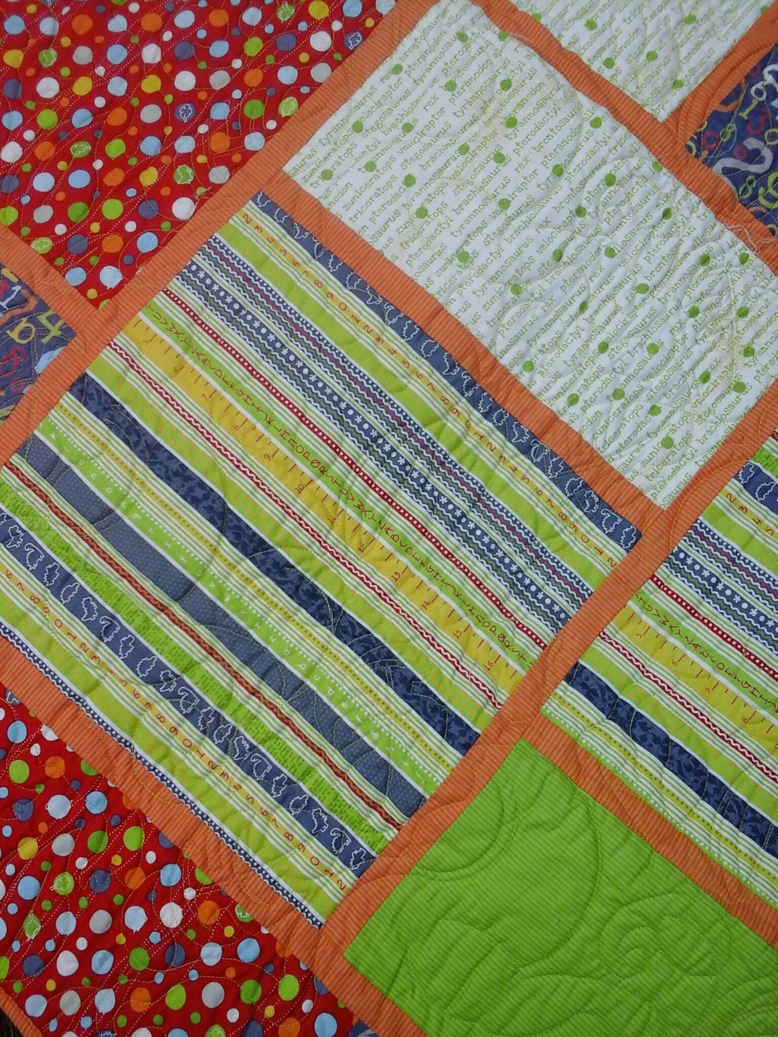Dinosaur quilt for sale baby boy bedding toddler handmade for Girly dinosaur fabric