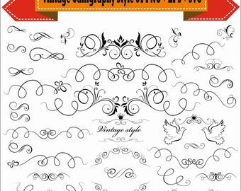 Vintage Calligraphy Style Frame Border Corner Vector Clipart PNG EPS Digital Files Transparent Scrapbook Supplies Clip Art Instant Download
