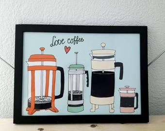French Press Print - coffee printable, love coffee print, coffee pots, pastel coffee print, printable coffee illustration, coffee wall art