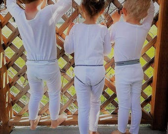 Size 5, 6, and 7 Long Underwear Union Suit One Piece Boy Girl White