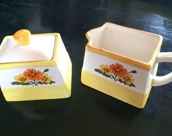 Vintage Cream and Sugar Set, Yellow Floral Creamer Set